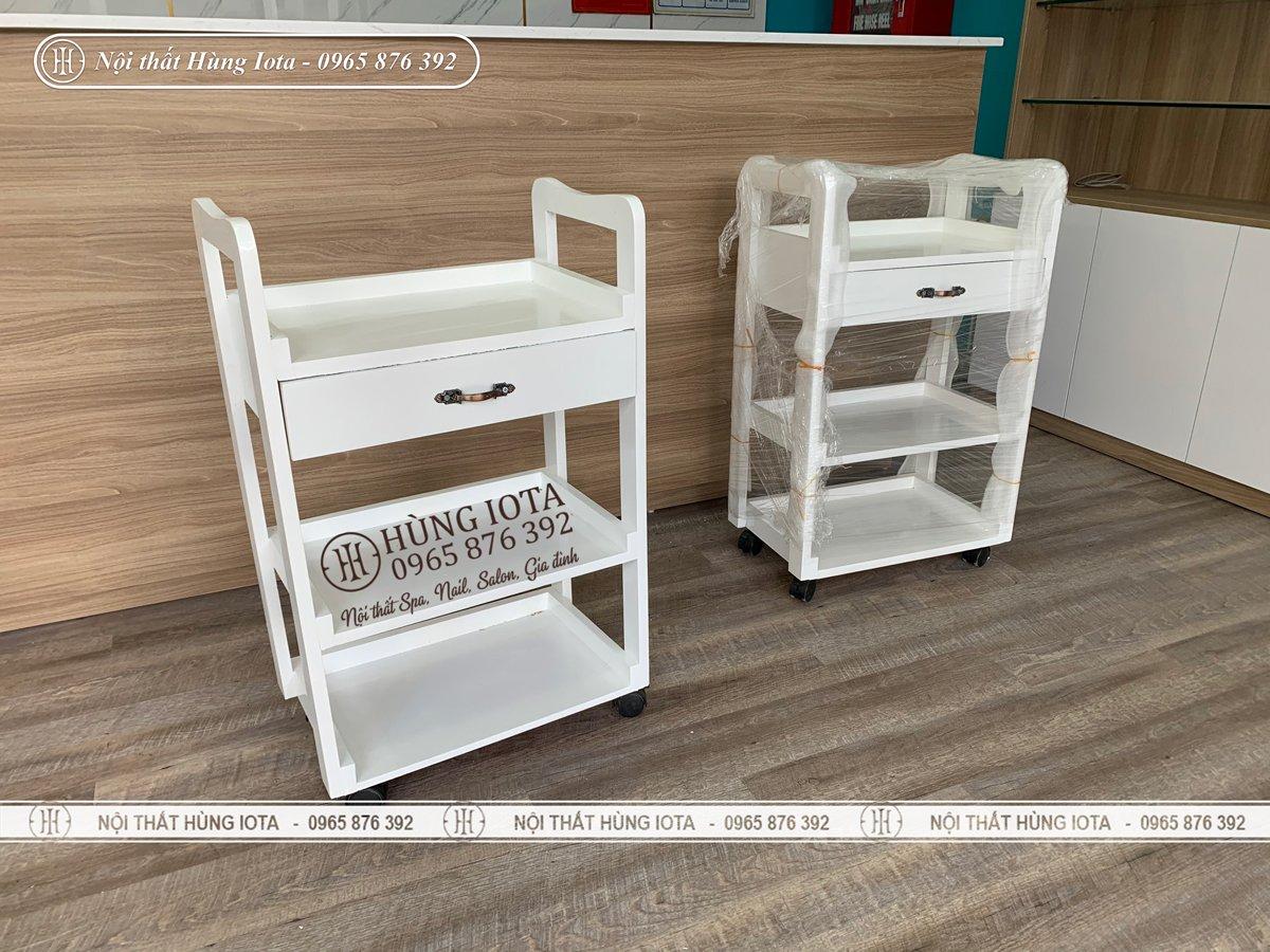 Thiết kế sản xuất xe đẩy spa màu trắng