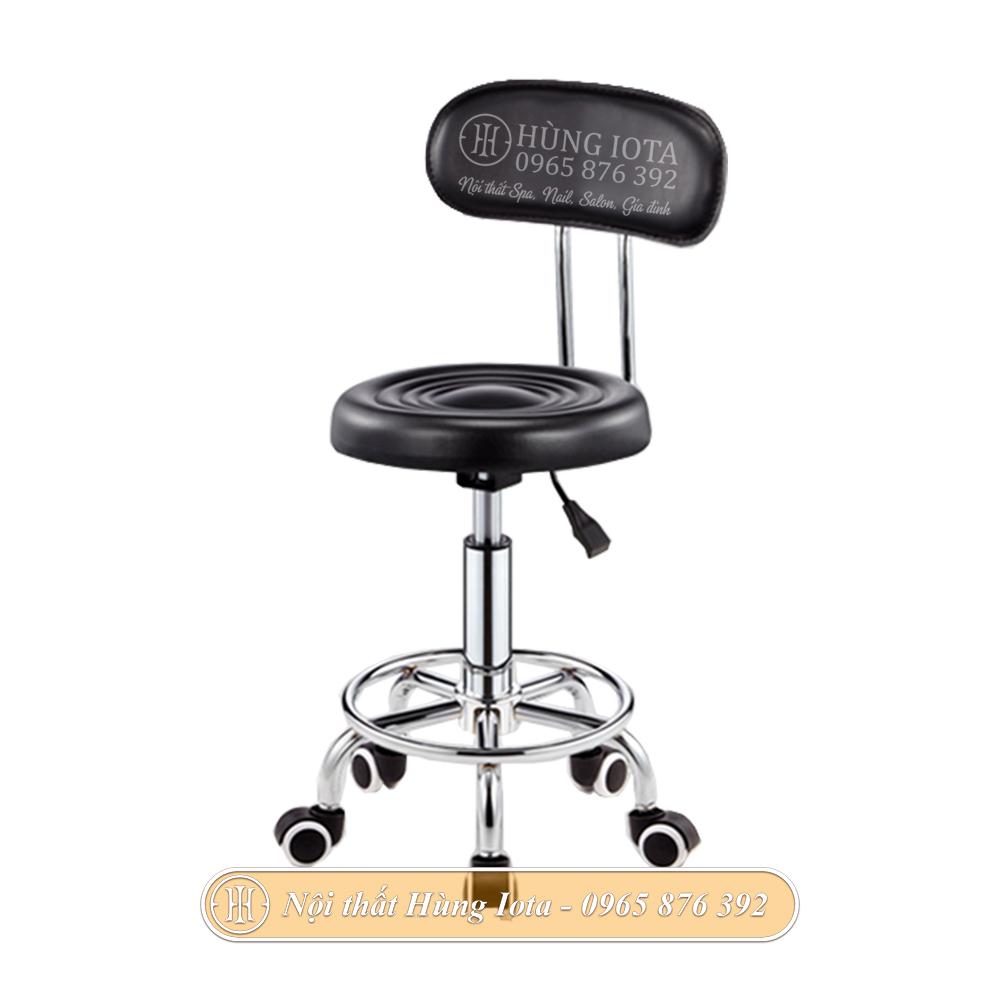 Ghế inox có tựa lưng, mặt trơn có bánh xe đẹp giá rẻ