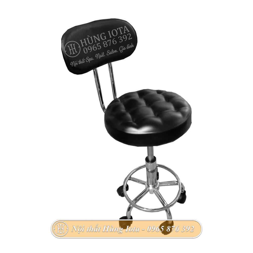 Ghế inox tựa lưng mặt múi màu đen giá rẻ cho spa, salon tóc