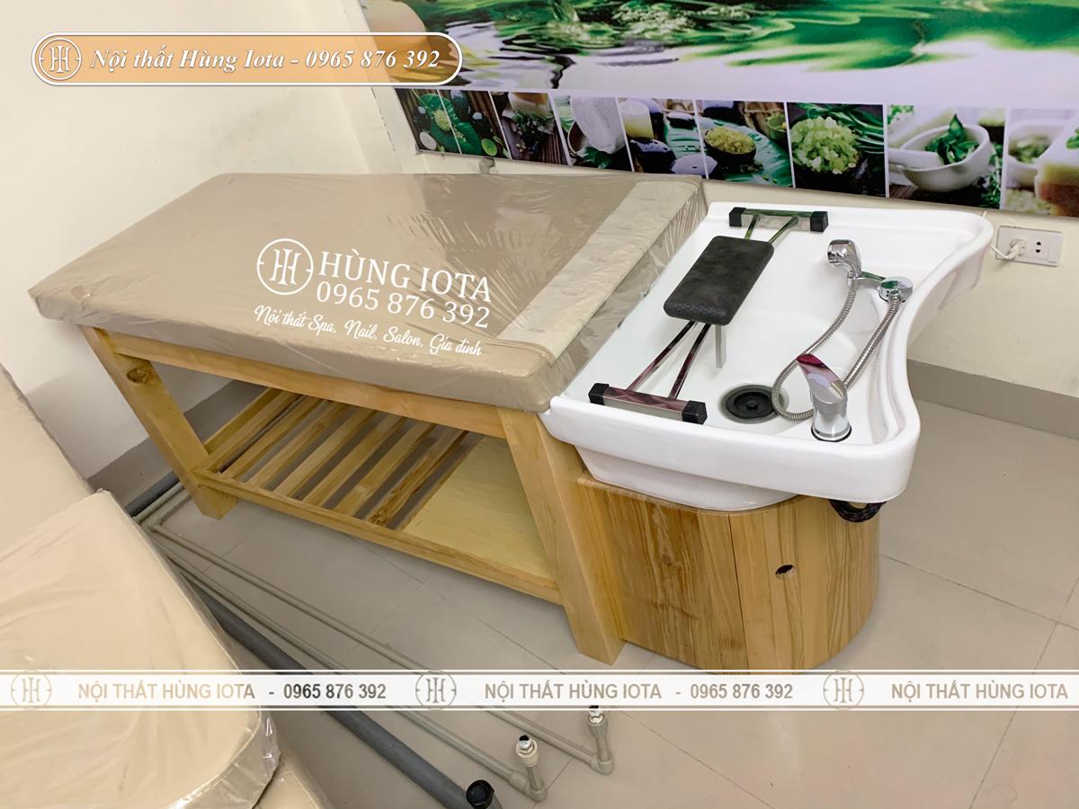Giường gội đầu dưỡng sinh 2 in 1 màu gỗ bồn sứ giá rẻ