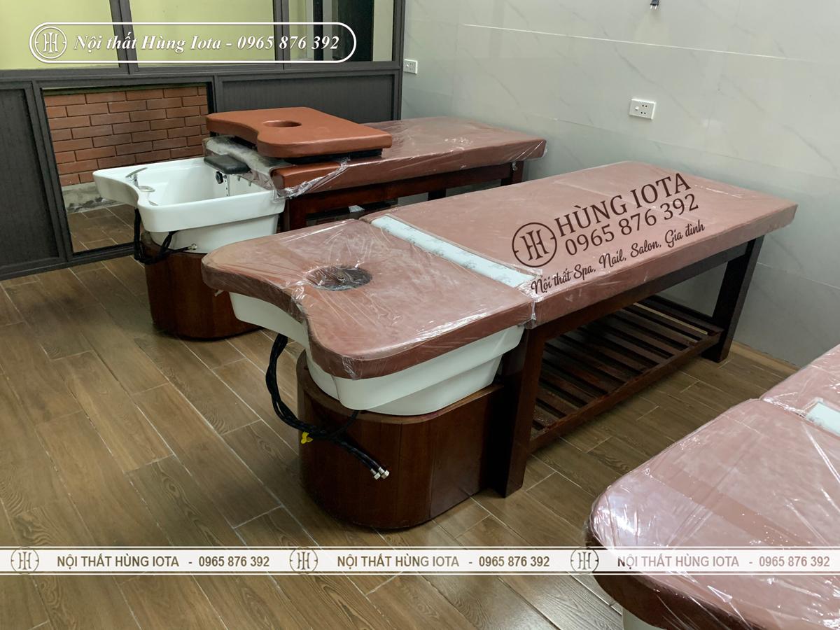 Giường gội đầu dưỡng sinh lắp đặt tại Nghệ An màu nâu