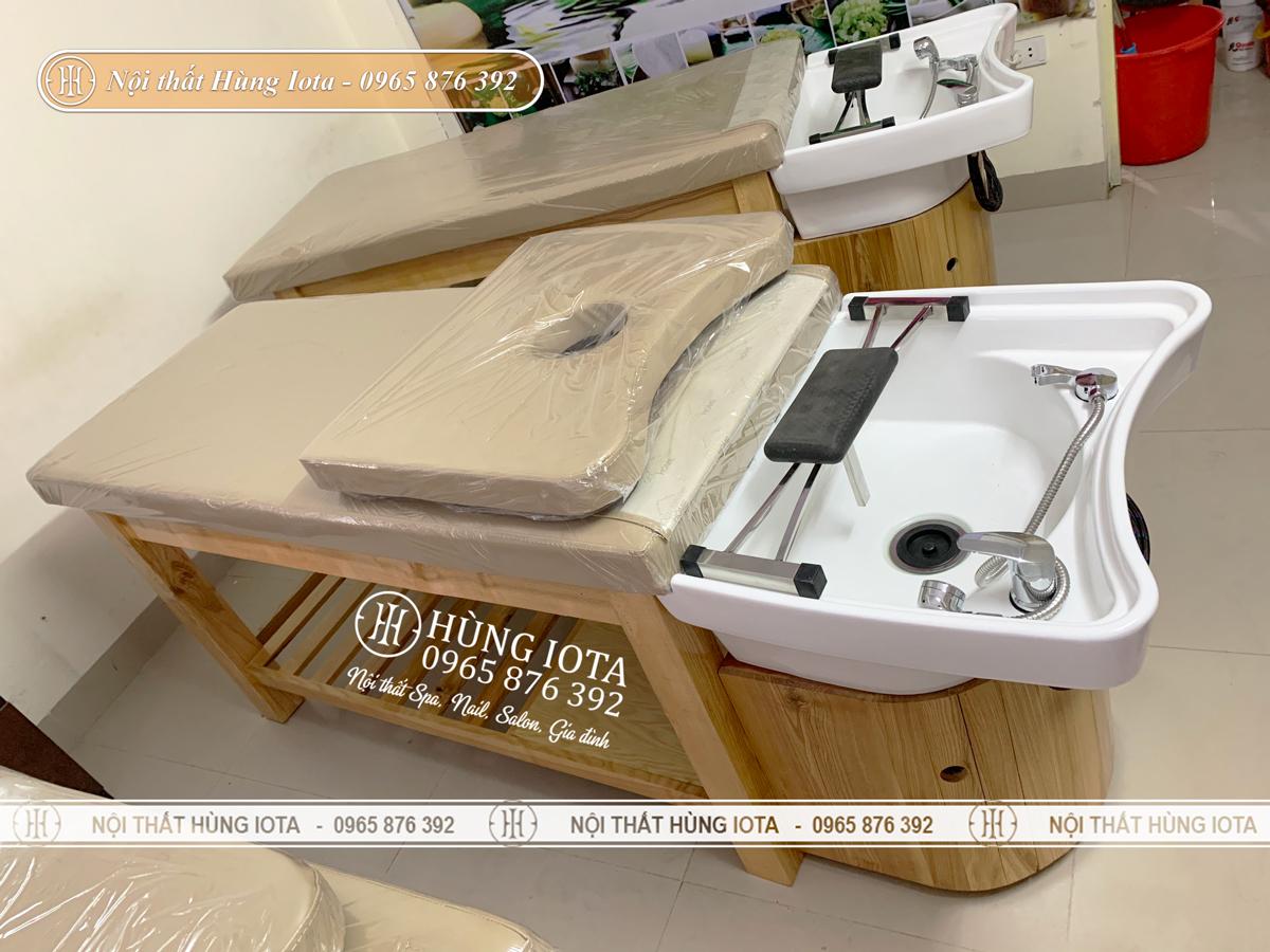 Giường gội đầu massage bồn sứ 2 in 1 gỗ sồi giá rẻ