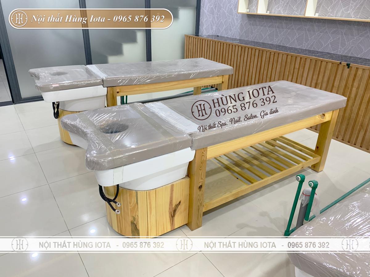 Giường gội massage bồn sứ đẹp màu vàng gỗ