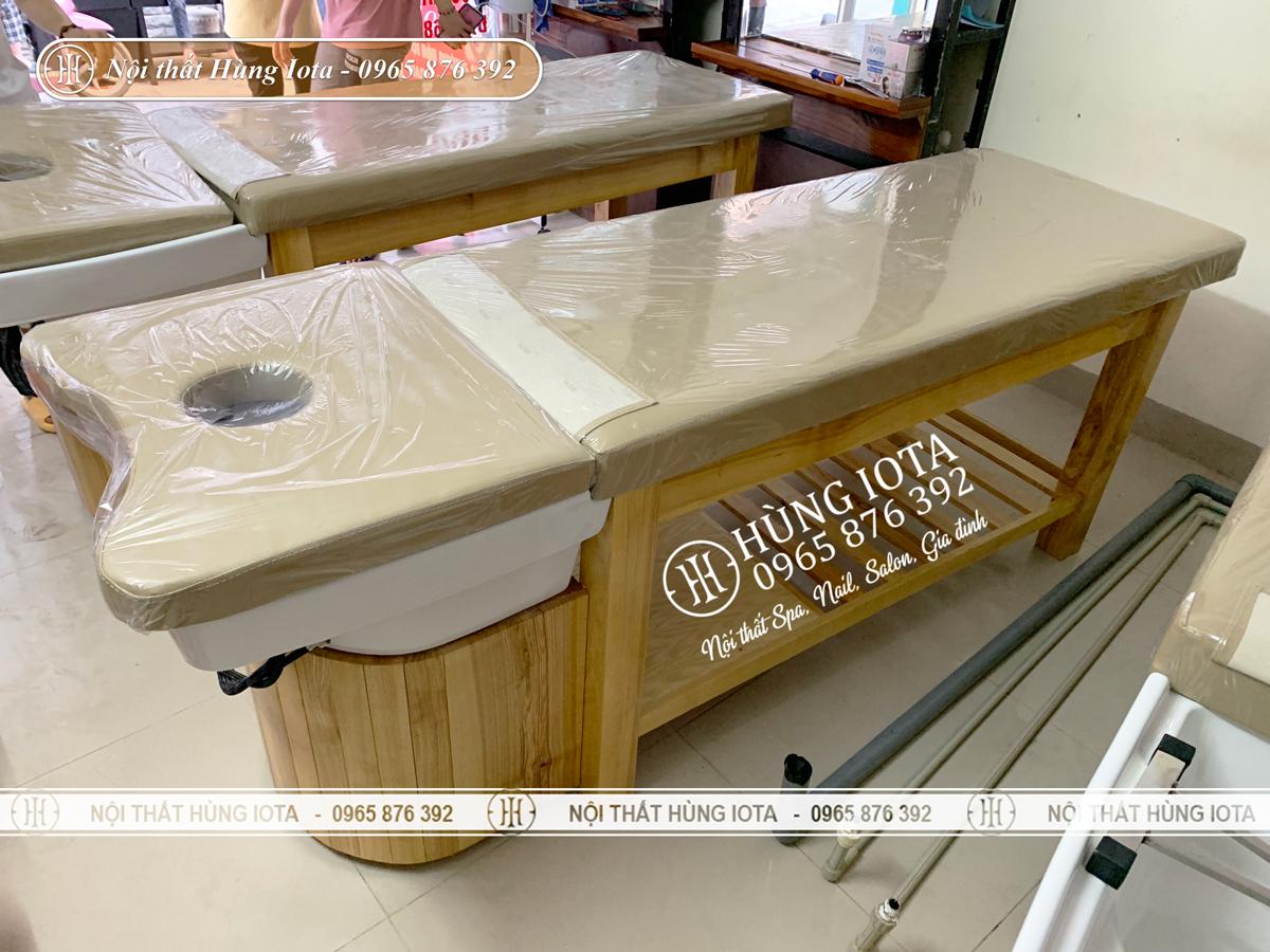 Giường gội massage màu gỗ tại Hà Nội đẹp giá rẻ