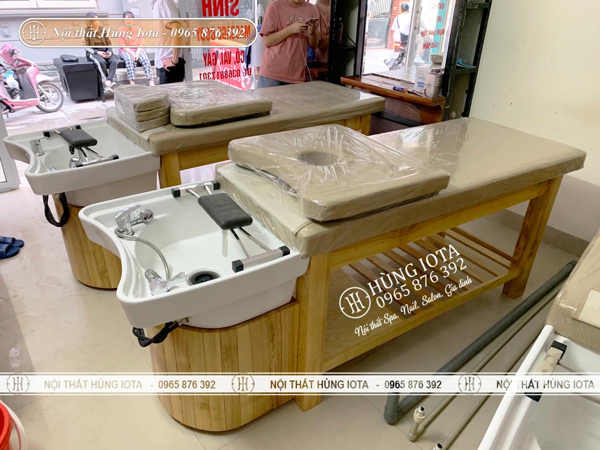 Giường gội spa lắp đặt cho salon tóc Thanh Trúc ở Hà Nội
