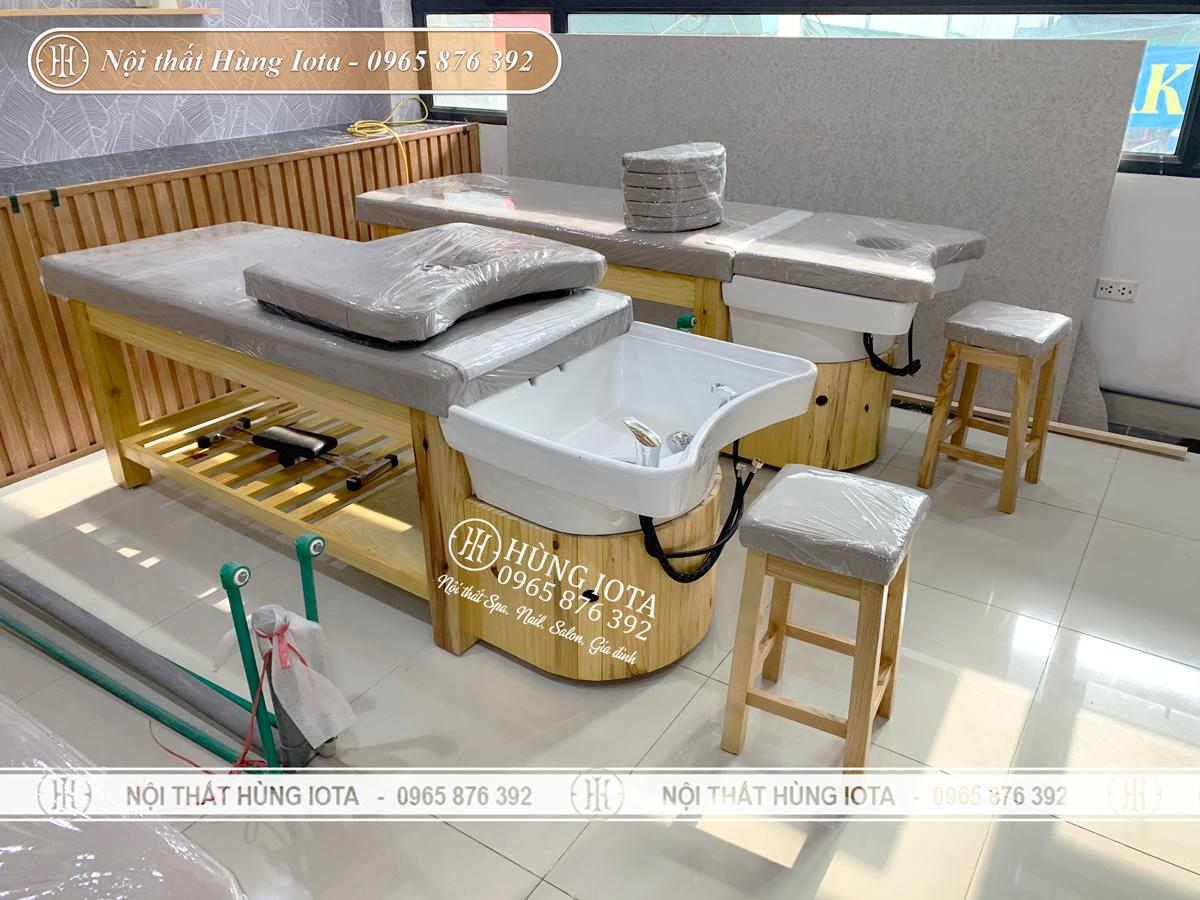 Lắp đặt giường gội đầu spa 2 in 1 bồn sứ tại Mỹ Đình