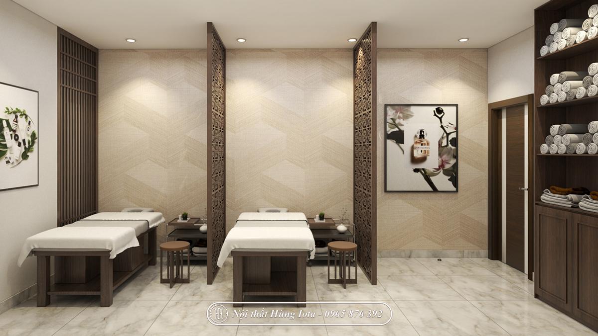 Spa đẹp, thiết kế phòng làm dịch vụ spa màu gỗ trầm