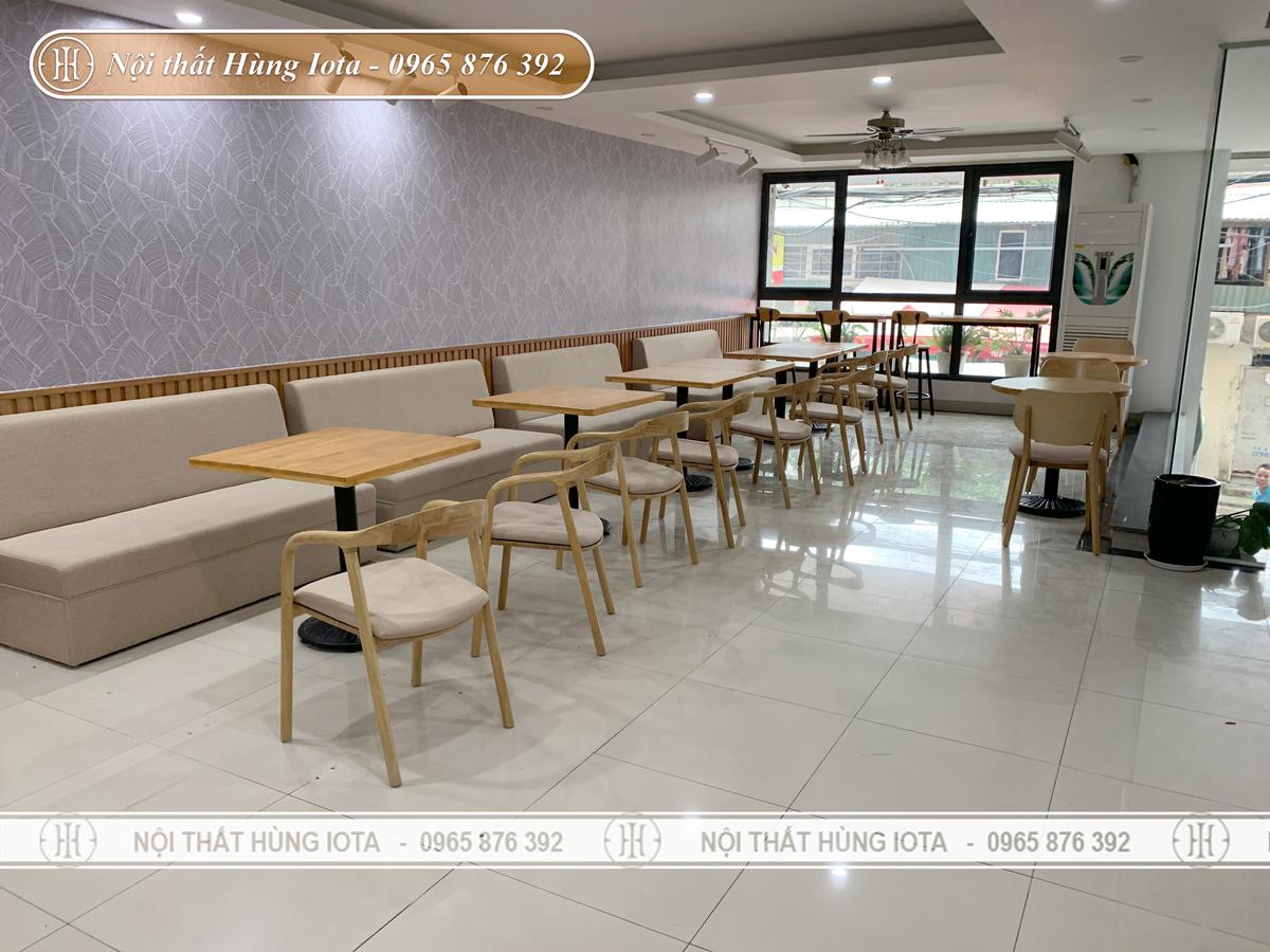 Thiết kế nội thất quán cafe ở Mỹ Đình màu gỗ đẹp sang