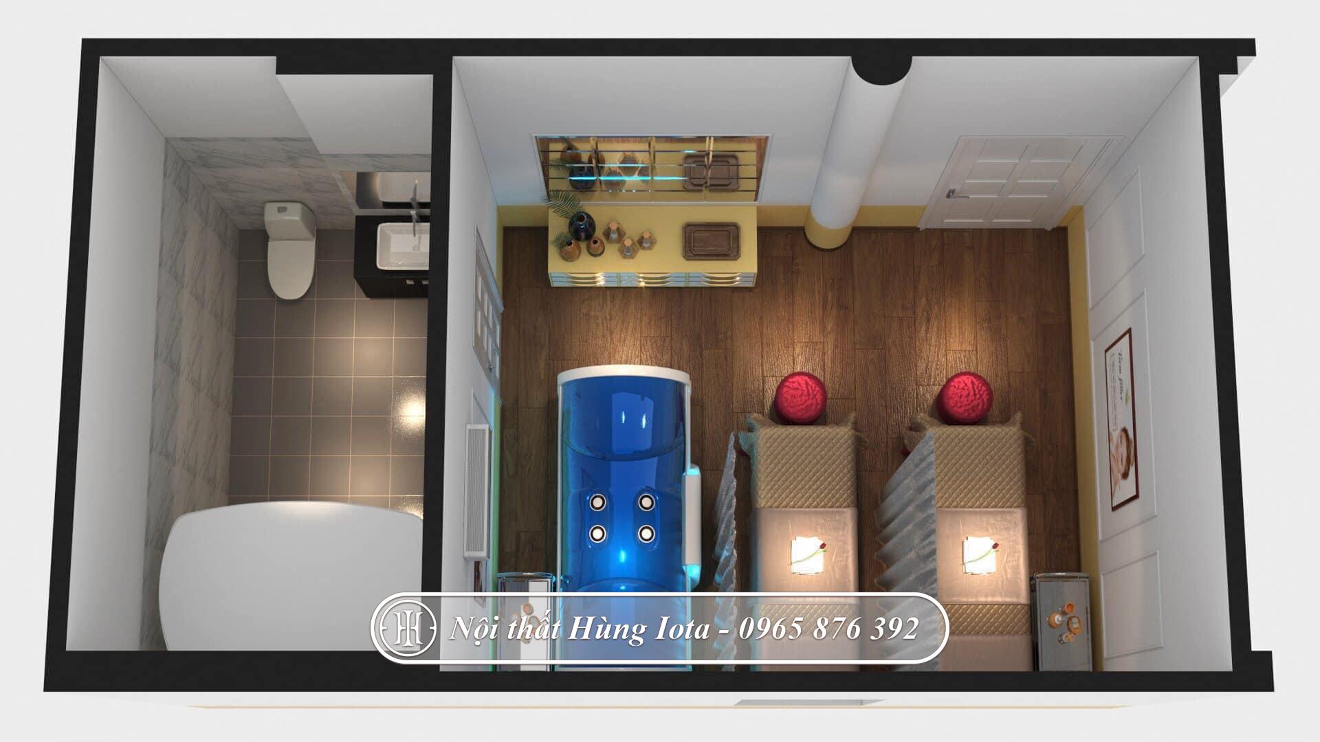 Thiết kế nội thất phòng massage body, phòng tắm trắng và xông hơi