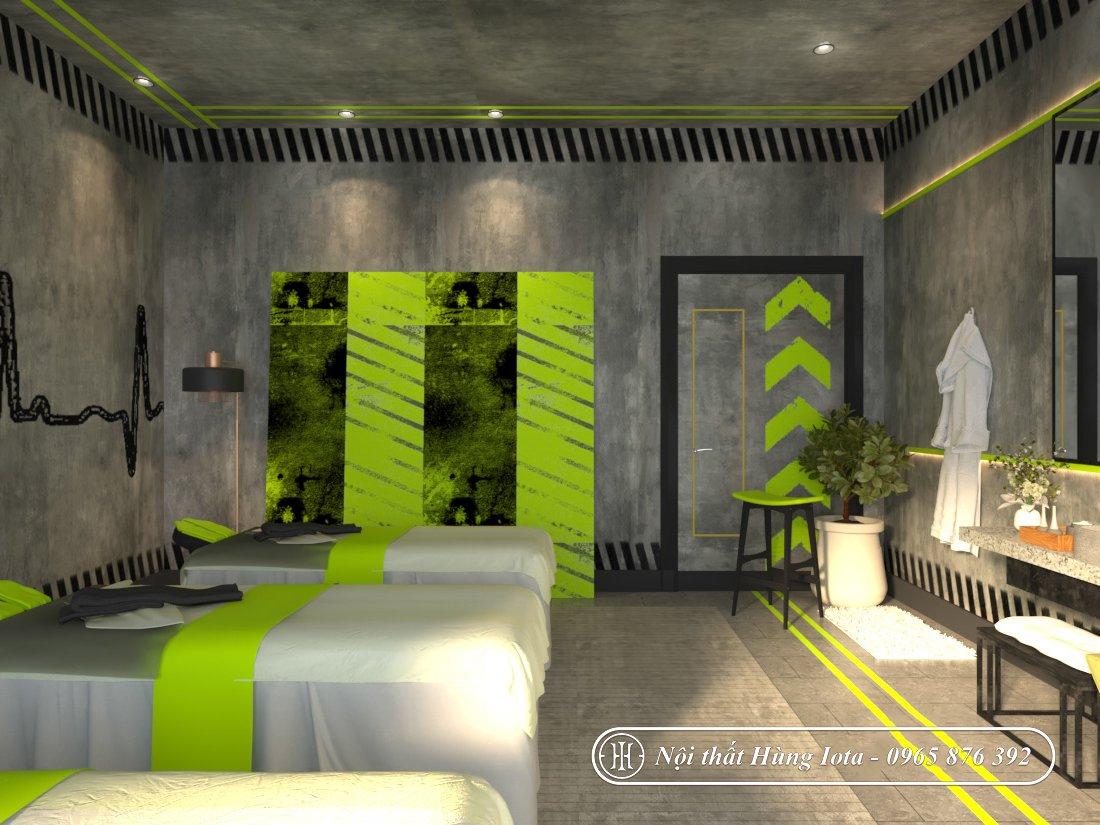 Thiết kế phòng massage tông màu xanh