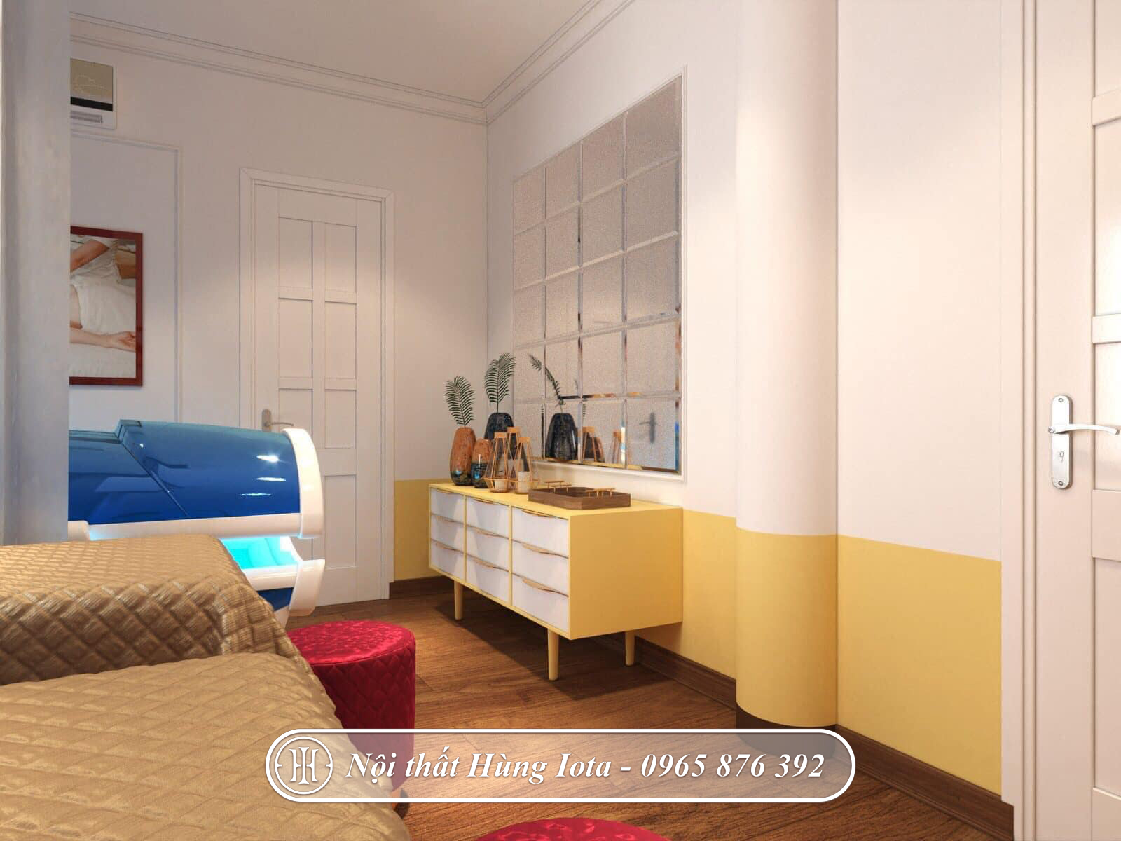 Thiết kế phòng tắm trắng kết hợp massage body cho khách hàng