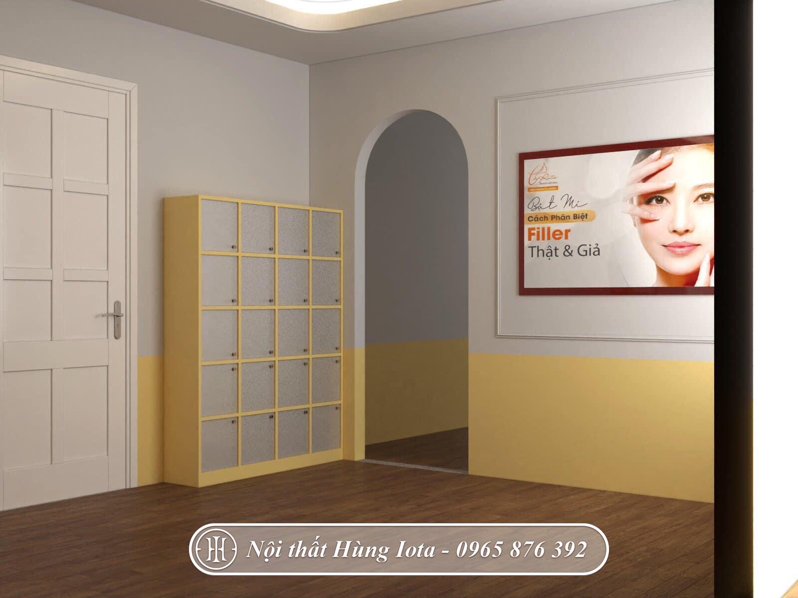 Thiết kế tủ đựng đồ khách hàng cho spa nhiều ô đẹp