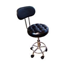 Ghế inox có tựa lưng mặt múi màu đen GKTV10