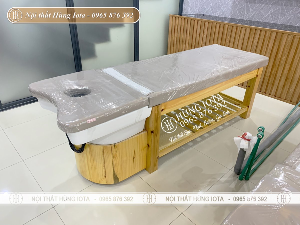 Giường gội spa bồn sứ màu vàng giá rẻ