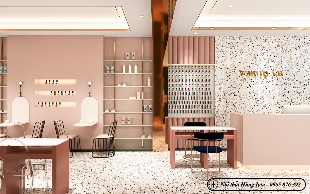 Thiết kế tiệm nail tông hồng nữ tính