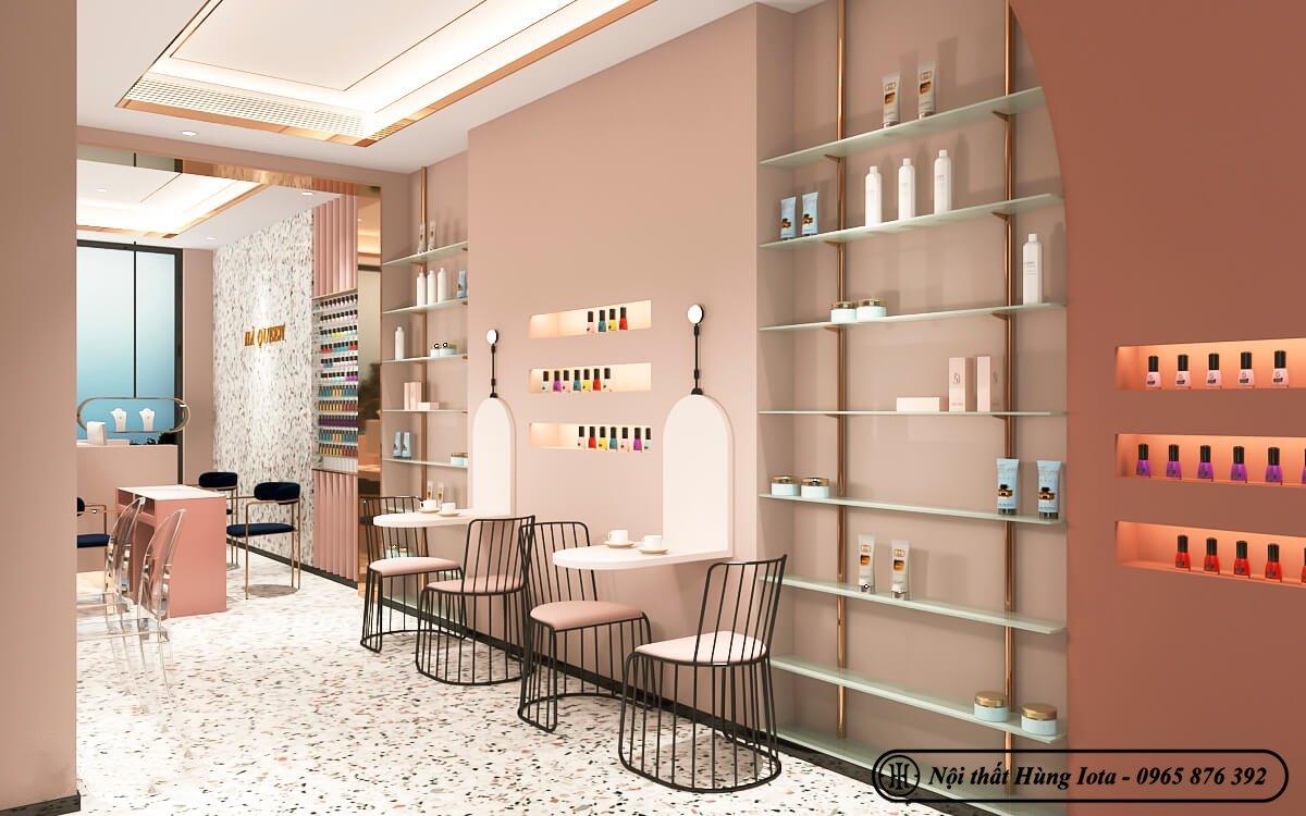 Thiết kế tiệm nail tông hồng pastel