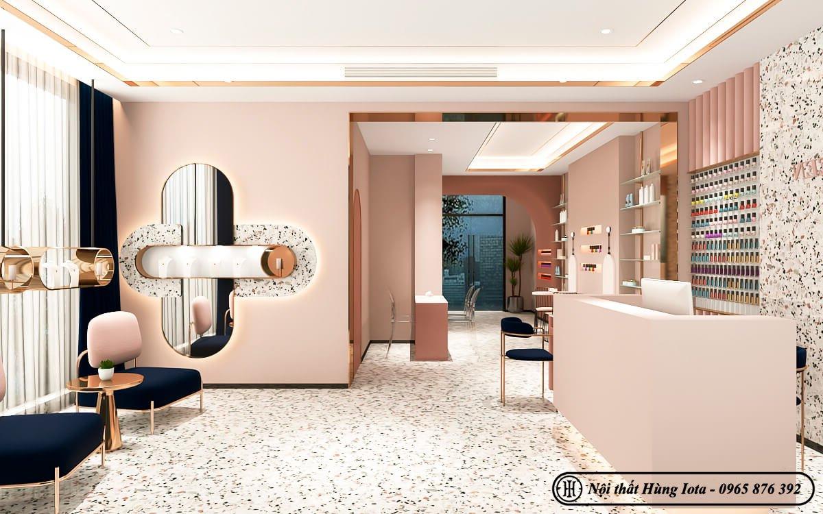 Thiết kế tiệm nail tông màu hồng