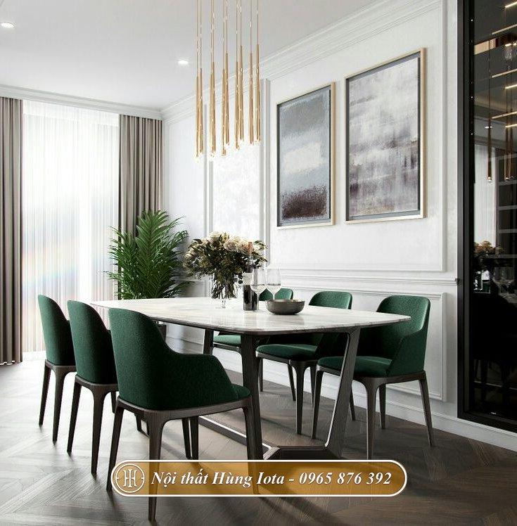 Bộ bàn ăn gia đình mặt đá 6 ghế Grace màu xanh sang trọng