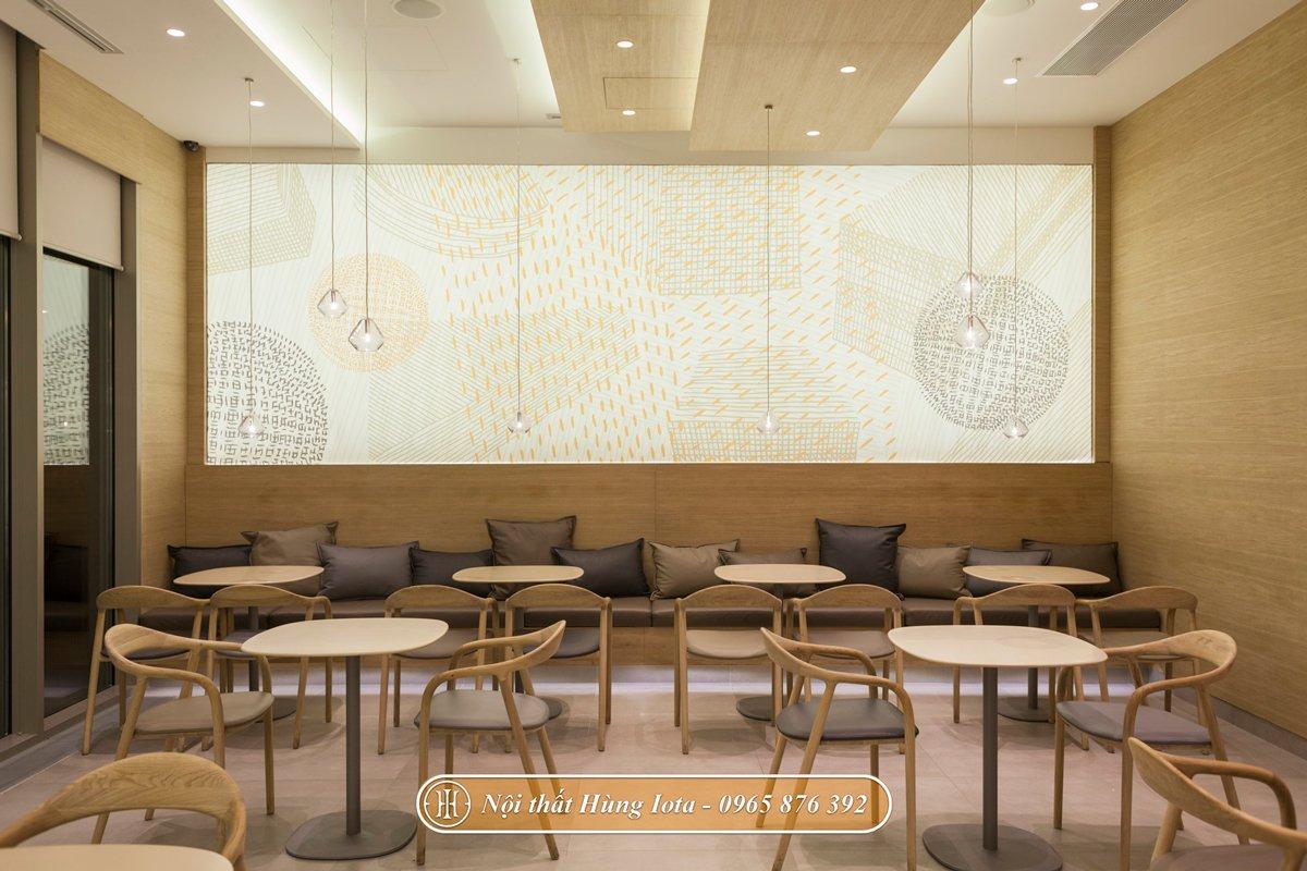 Ghế ngồi cafe màu gỗ Neva có tay hiện đại
