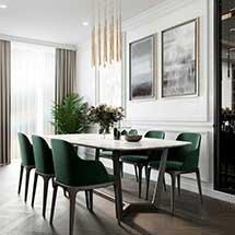Bộ bàn ăn mặt đá 6 ghế grace màu xanh hiện đại sang trọng