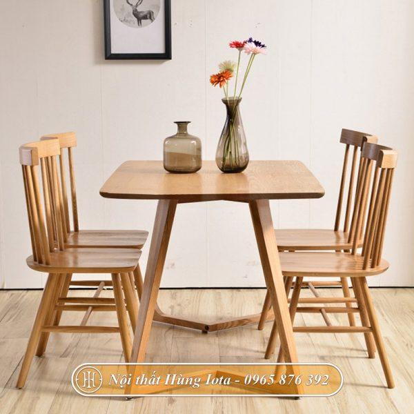 Bàn ghế ăn chung cư chân chữ M 4 ghế Pinnstol cao cấp