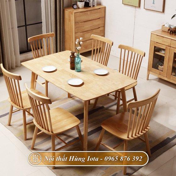 Bàn ghế ăn gia đình màu gỗ đẹp chất lượng BGA11