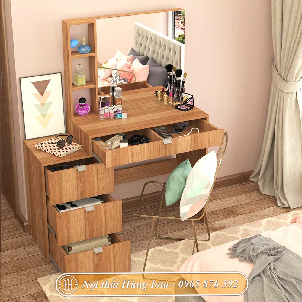 Bàn gương trang điểm màu gỗ có tủ đựng đồ