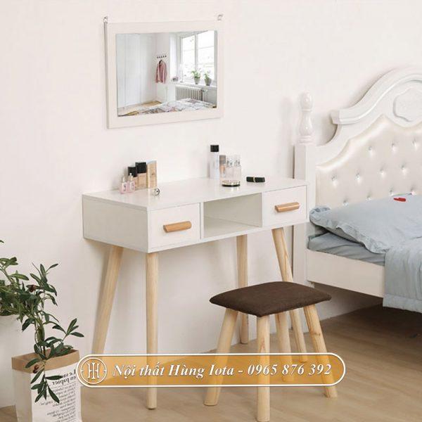 Bàn makeup gương treo tường decor màu trắng