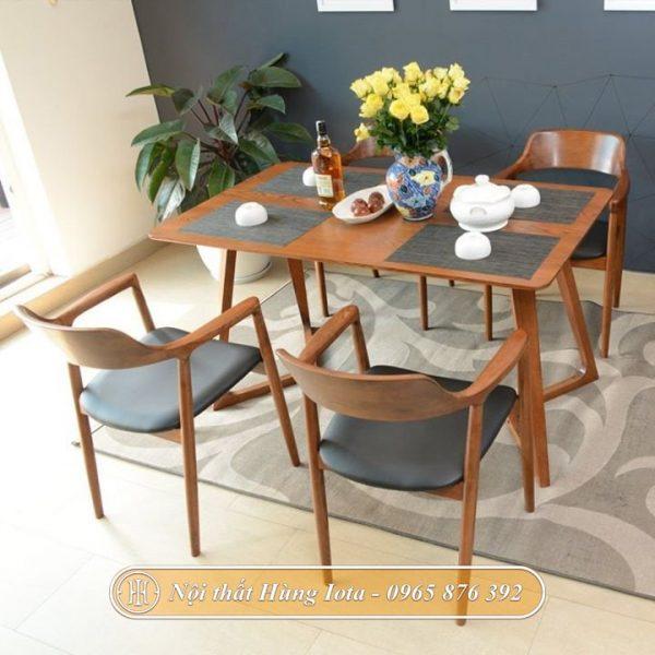 Bộ bàn ăn gia đình decor 4 ghế Hiroshima đẹp sang trọng