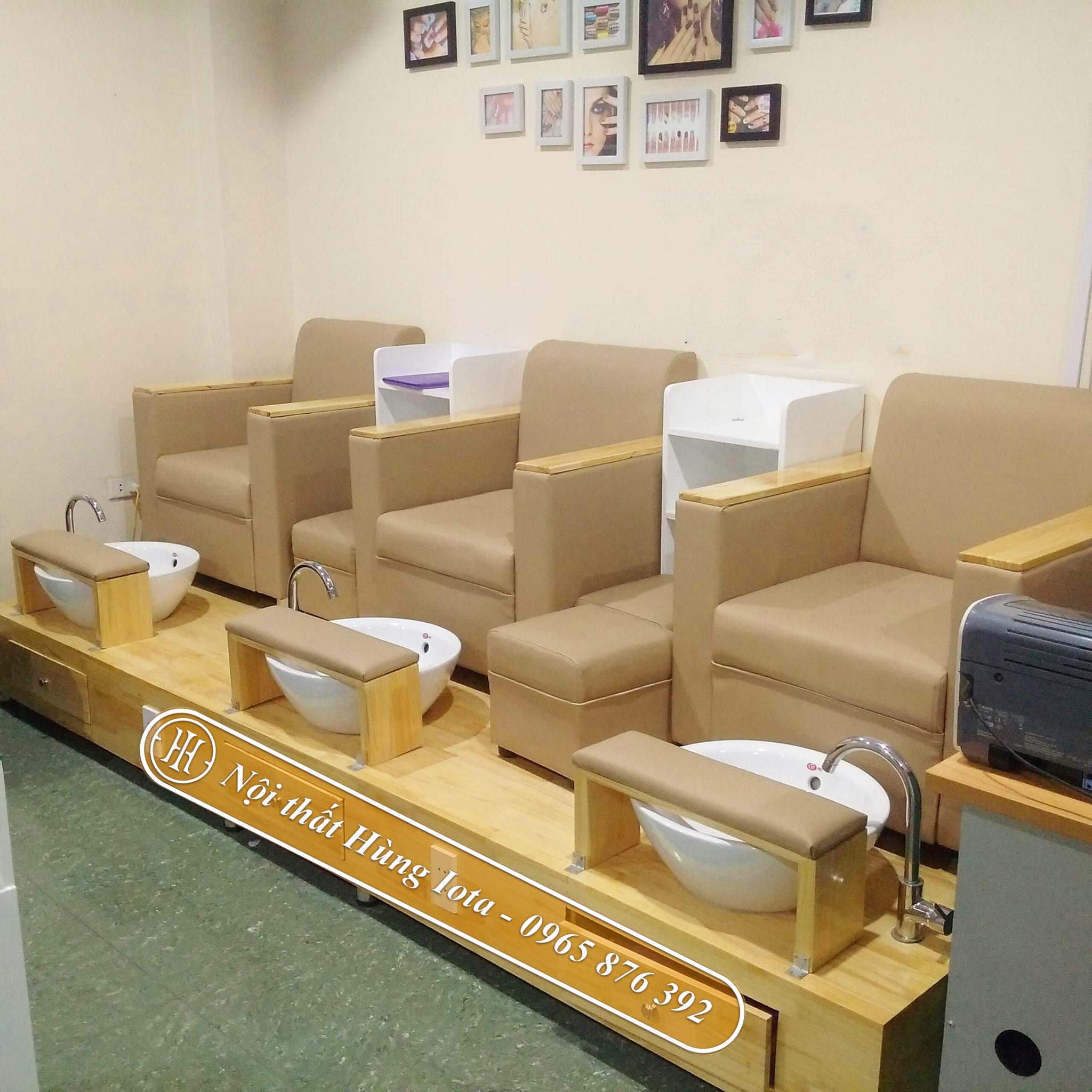 Ghế ngồi làm móng bọc da màu vàng đơn giản GNN02