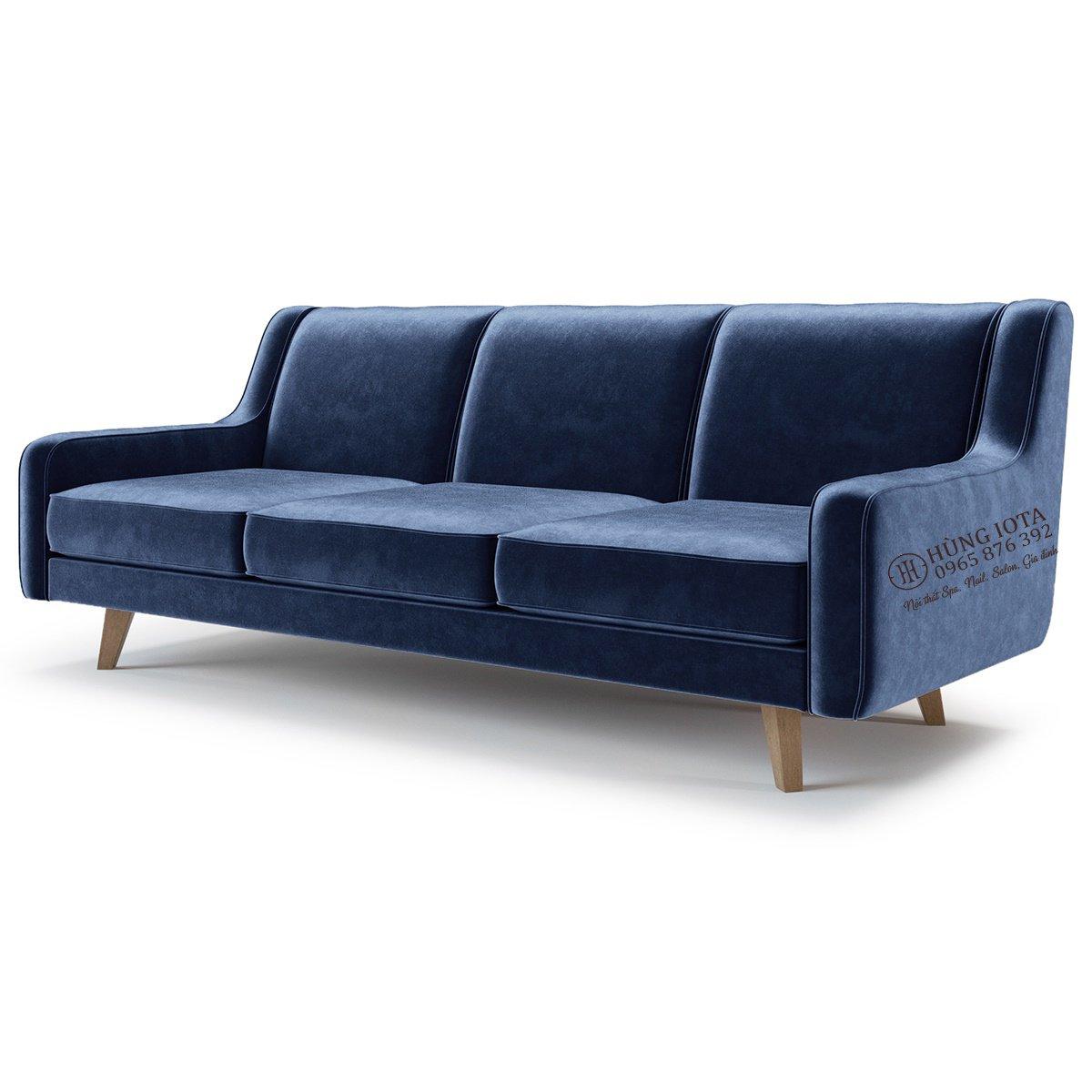 Ghế sofa bọc nhung màu xanh nước biển