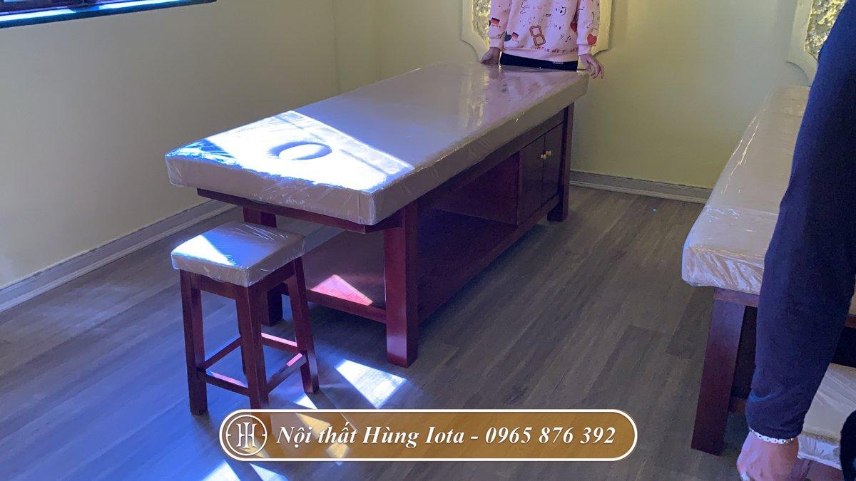 Giường massage body gỗ sồi màu nâu