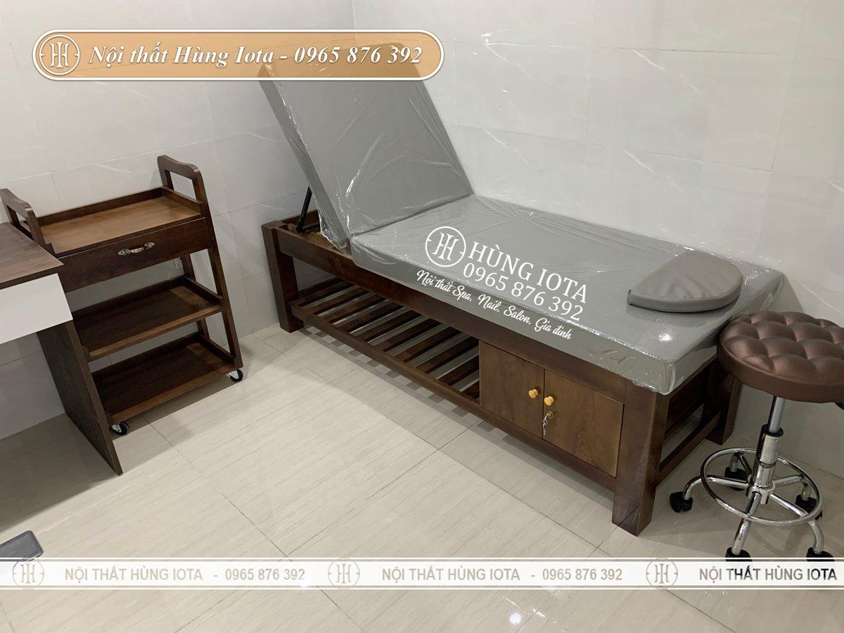 Giường spa cao cấp nâng đầu màu óc chó ở Hải Phòng