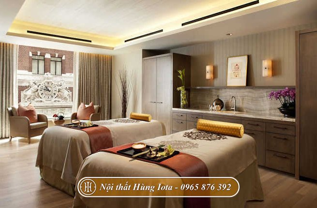 Giường spa gỗ cùng tông màu ghi trắng