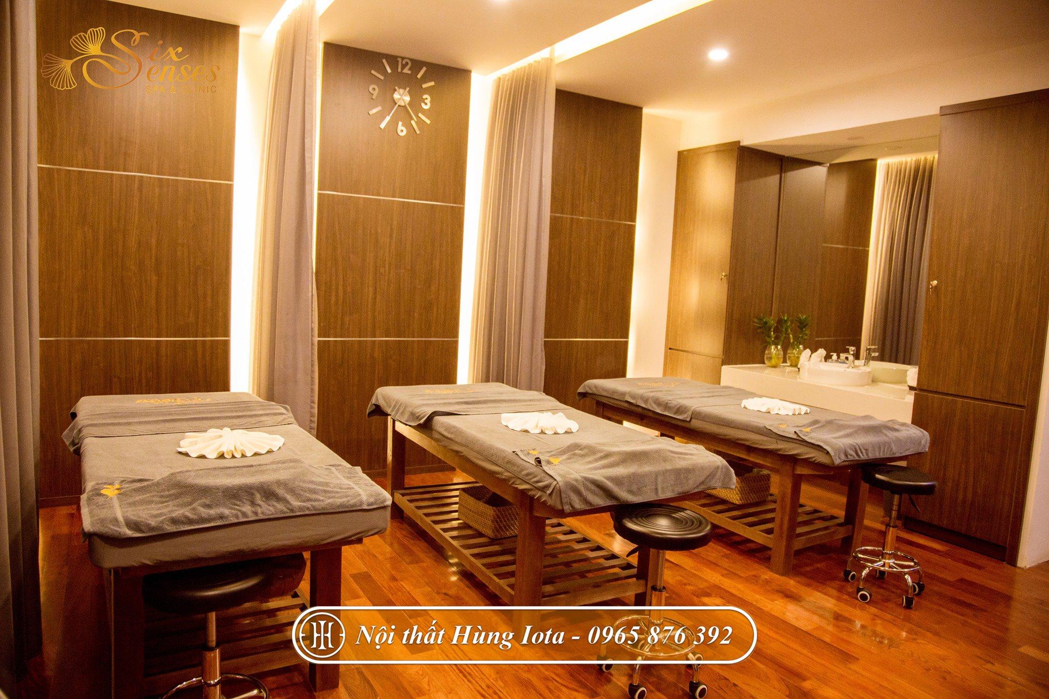 Giường spa hay giường massage body màu hạt dẻ ở Hà Nội - Six Sense