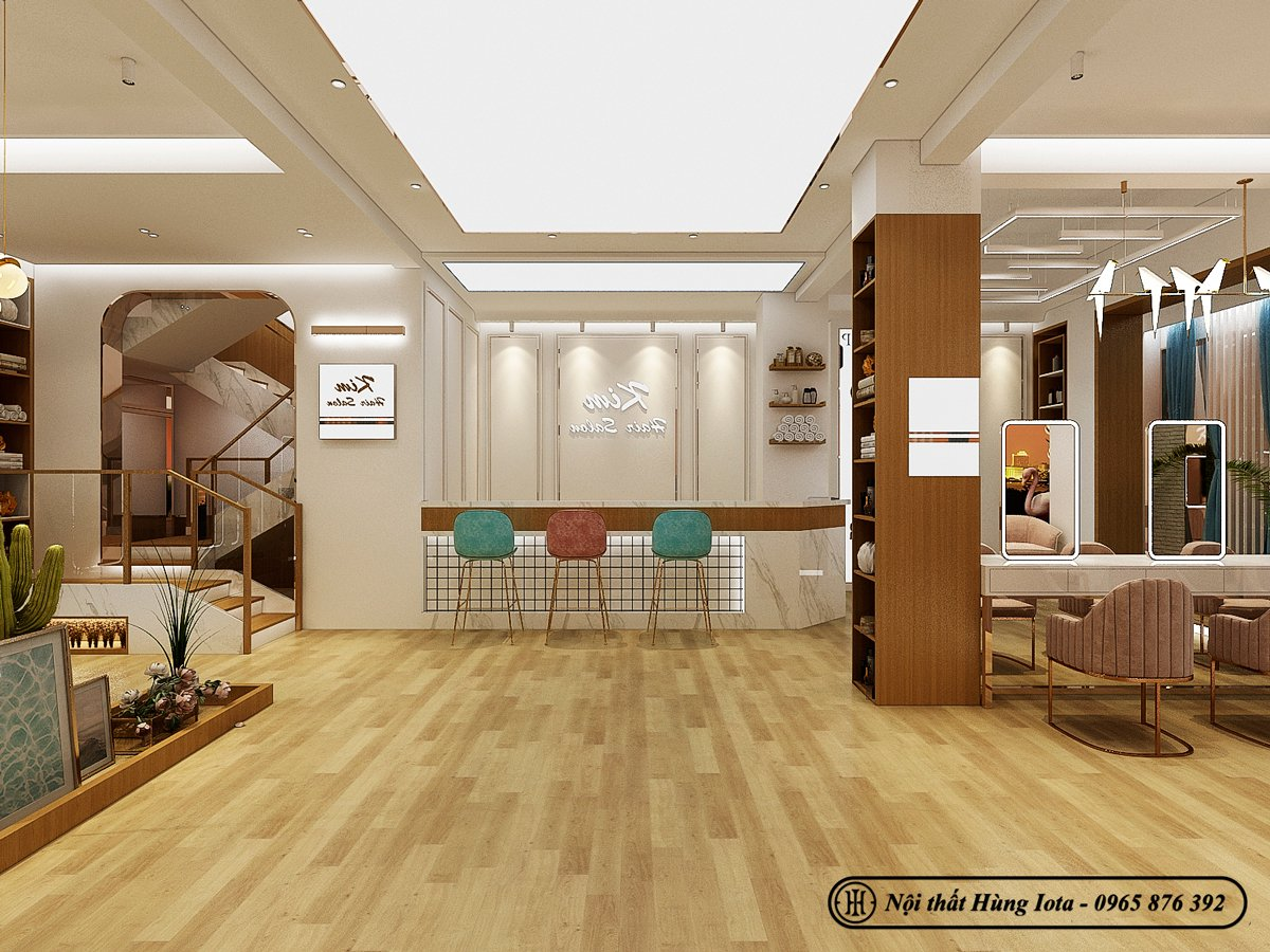 Không gian ấm cúng màu gỗ của salon