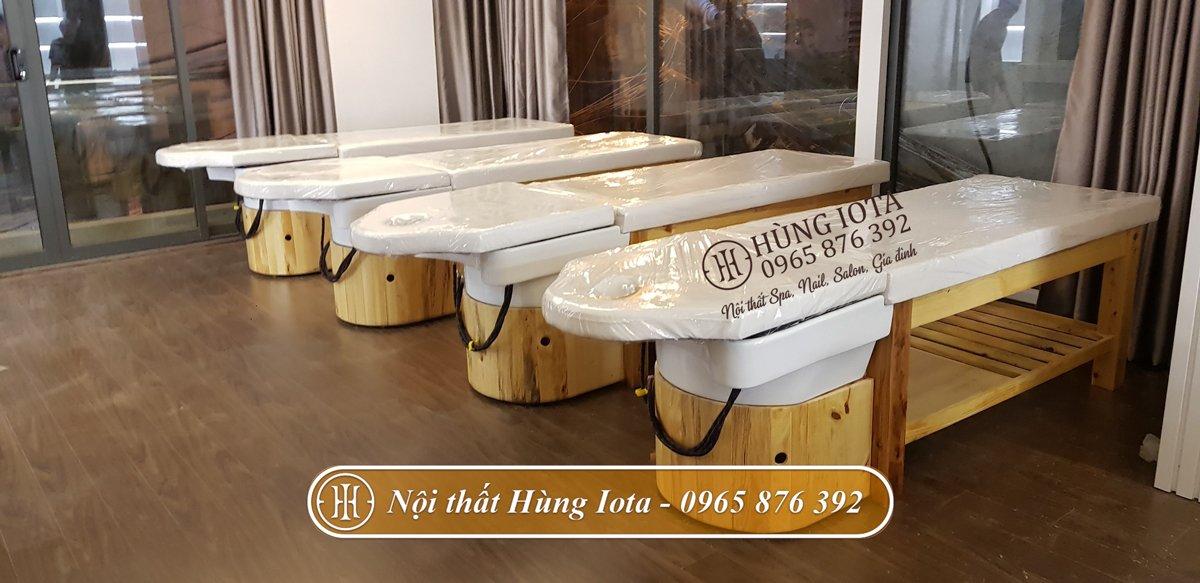 Lắp đặt giường gội đầu dưỡng sinh màu gỗ