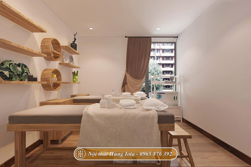 Phòng spa màu gỗ tinh tế hiện đại
