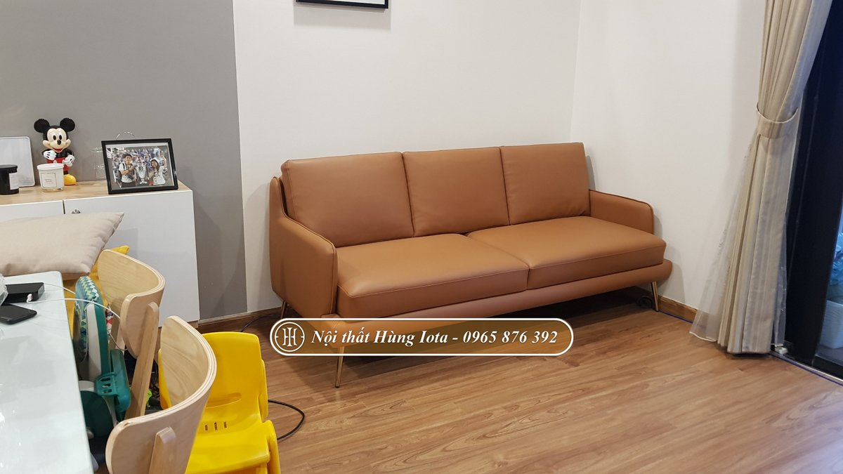 Sofa chung cư màu da bò đẹp theo yêu cầu