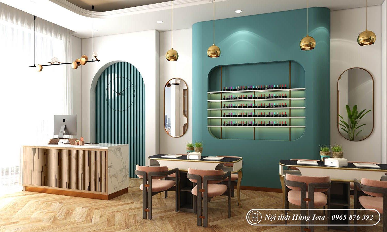 Thiết kế nội thất nail và spa tông xanh lá