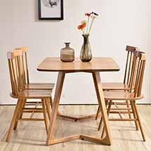 Bàn ghế ăn chung cư chân chữ M 4 ghế Pinnstol decor màu gỗ tự nhiên