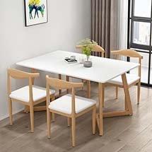 Bàn ghế ăn chung cư decor 4 ghế Bull màu gỗ tự nhiên