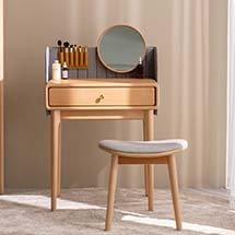 Bàn trang điểm nhỏ decor màu gỗ gương tròn hiện đại BTD27