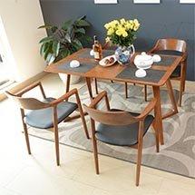 Bộ bàn ăn gia đình decor 4 ghế Hiroshima màu nâu cao cấp