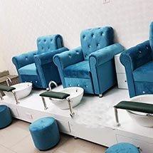 thumb ghế làm nail màu xanh bọc nỉ