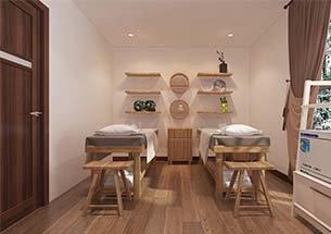 Thumb kết hợp nội thất spa màu gỗ kết hợp salon