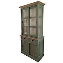 Tủ kính trưng bày loại nhỏ màu xanh rêu giá rẻ decor không gian TSP23