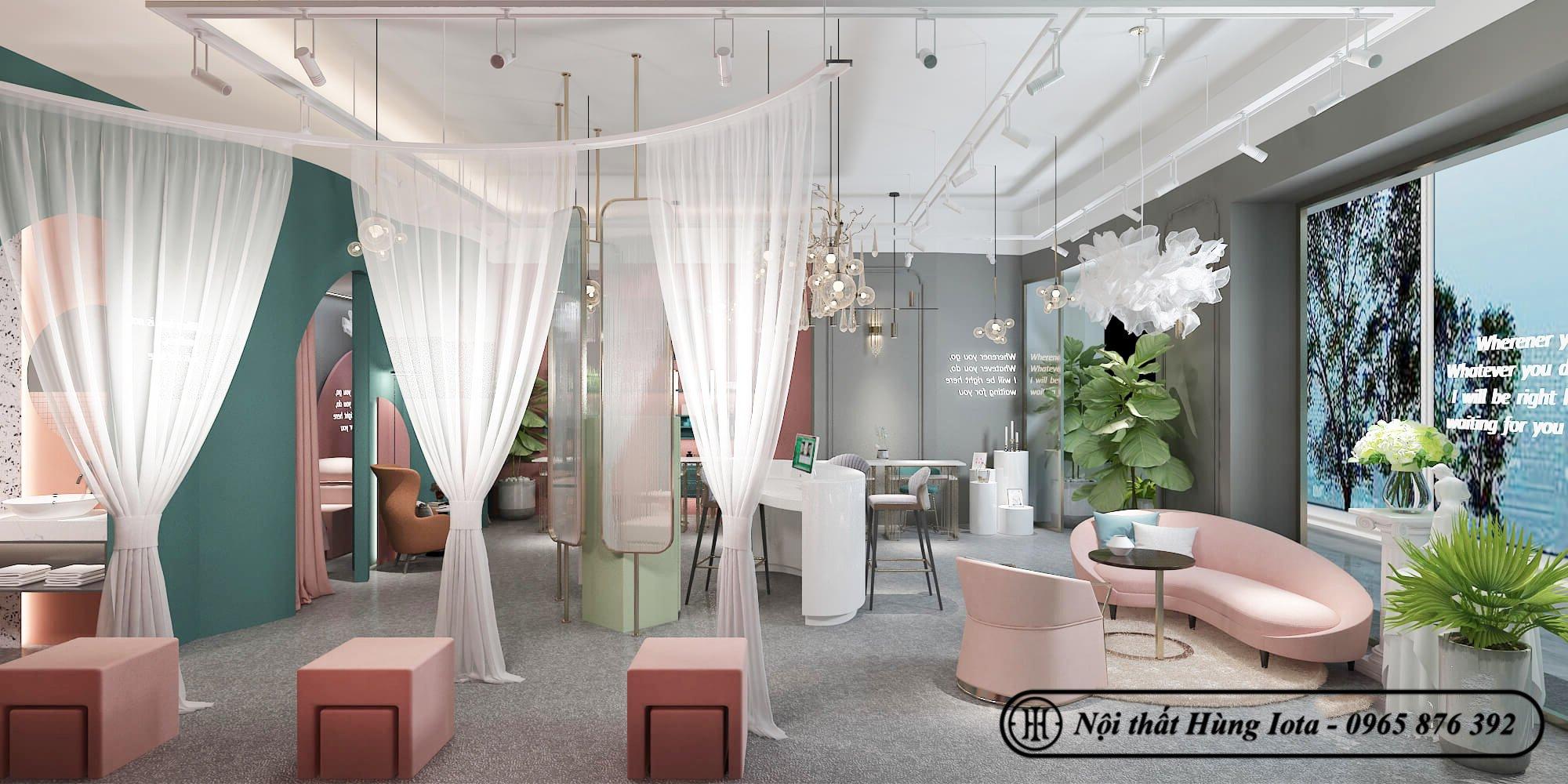 Tiệm nail được kết hợp giữa tông màu xanh và hồng nhã nhặn