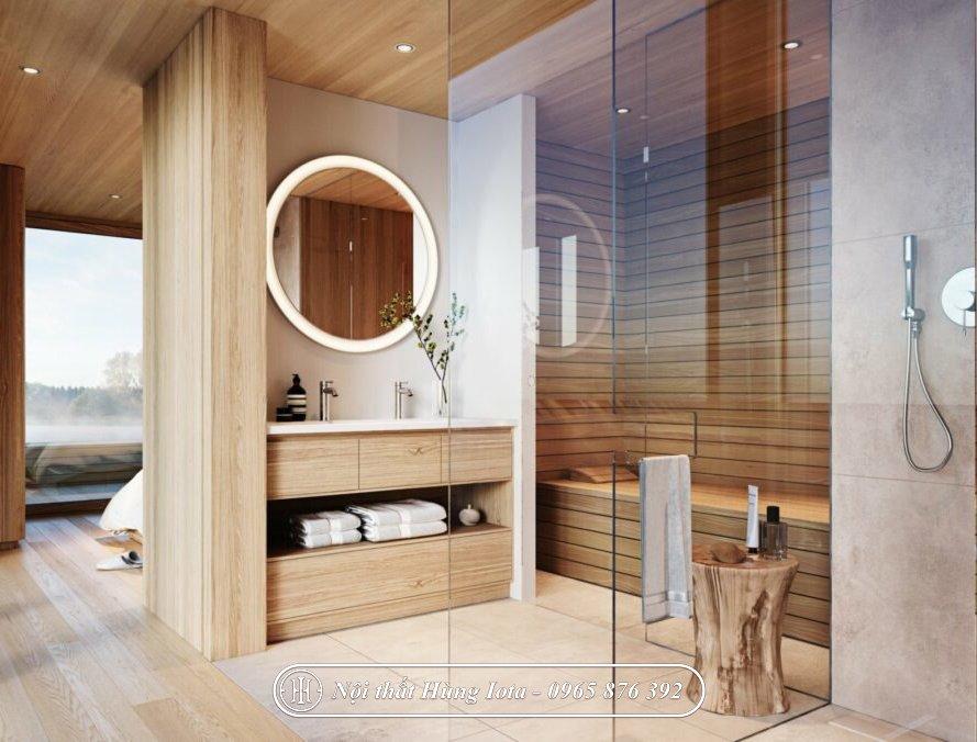 Tủ khăn màu gỗ ấm sang trọng