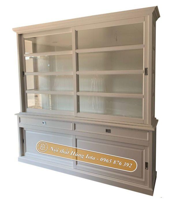 Tủ kính trưng bày sản phẩm màu trắng ngà cao cấp